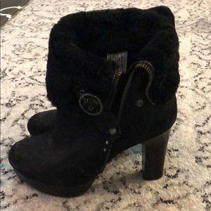 Black fur UGG heel boots